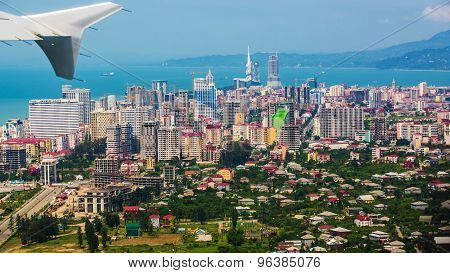 Aerial view of  city on Black Sea coast, Batumi, Georgia.