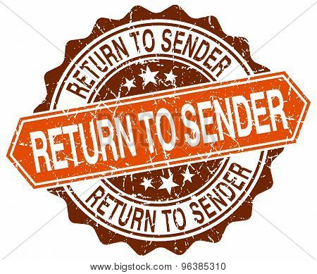 Return To Sender Orange Round Grunge Stamp On White