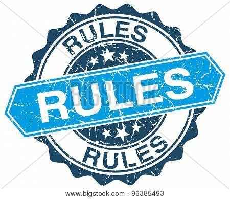 Rules Blue Round Grunge Stamp On White