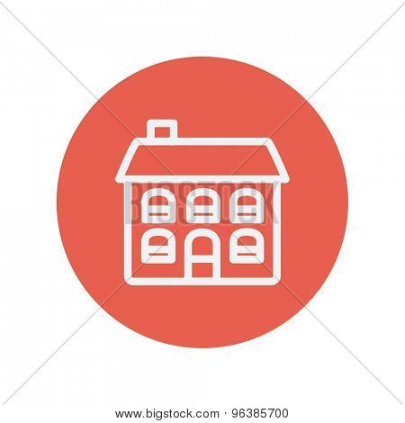 Retro flat house thin line icon for web and mobile minimalistic flat design. Vector white icon inside the red circle.
