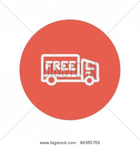 Free delivery van thin line icon for web and mobile minimalistic flat design. Vector white icon inside the red circle.