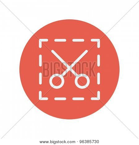 Scissors with cut lines thin line icon for web and mobile minimalistic flat design. Vector white icon inside the red circle.