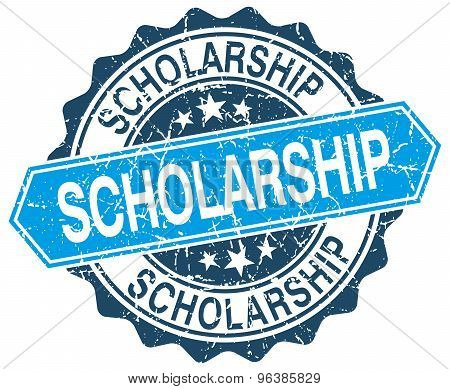 Scholarship Blue Round Grunge Stamp On White