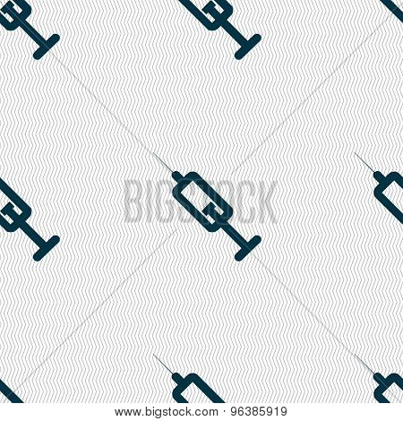 Syringe Icon Sign. Seamless Pattern With Geometric Texture. Vector
