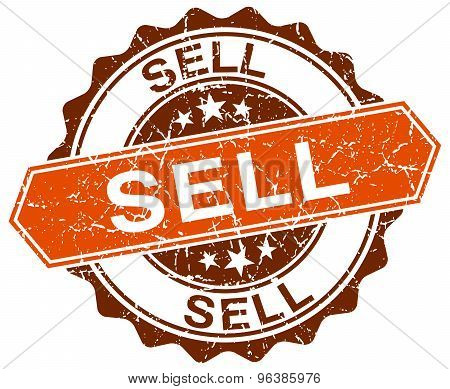 Sell Orange Round Grunge Stamp On White