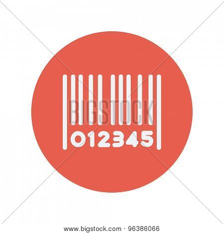 Barcode thin line icon for web and mobile minimalistic flat design. Vector white icon inside the red circle.