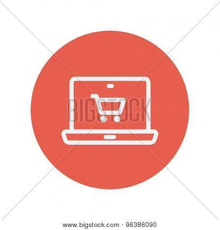 On line shopping thin line icon for web and mobile minimalistic flat design. Vector white icon inside the red circle.