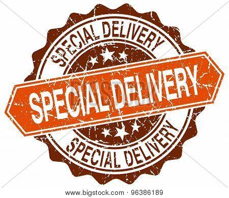Special Delivery Orange Round Grunge Stamp On White