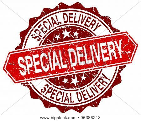 Special Delivery Red Round Grunge Stamp On White