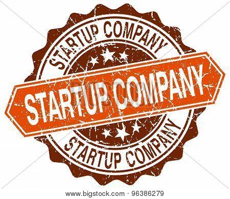 Startup Company Orange Round Grunge Stamp On White