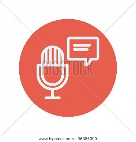 Microphone with speech bubble thin line icon for web and mobile minimalistic flat design. Vector white icon inside the red circle.