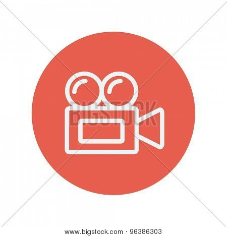 Old cinema video cam thin line icon for web and mobile minimalistic flat design. Vector white icon inside the red circle.
