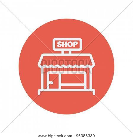 Business shop thin line icon for web and mobile minimalistic flat design. Vector white icon inside the red circle.