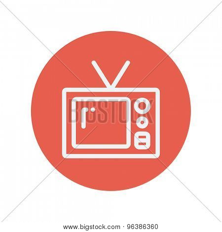 Vintage television thin line icon for web and mobile minimalistic flat design. Vector white icon inside the red circle.