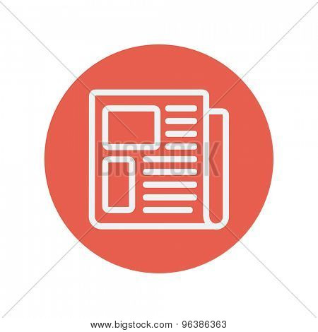Newspaper thin line icon for web and mobile minimalistic flat design. Vector white icon inside the red circle.