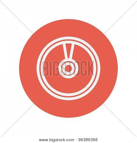CD or DVD thin line icon for web and mobile minimalistic flat design. Vector white icon inside the red circle.