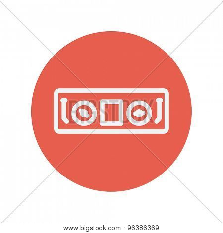 DJ console thin line icon for web and mobile minimalistic flat design. Vector white icon inside the red circle.
