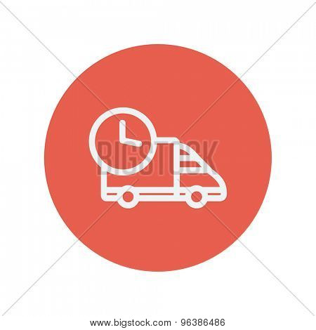 On time delivery van thin line icon for web and mobile minimalistic flat design. Vector white icon inside the red circle.