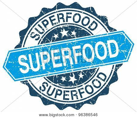 Superfood Blue Round Grunge Stamp On White