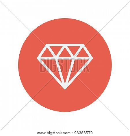 Dazzling diamond thin line icon for web and mobile minimalistic flat design. Vector white icon inside the red circle.