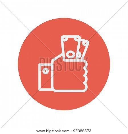 Money in hand thin line icon for web and mobile minimalistic flat design. Vector white icon inside the red circle.