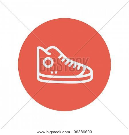 High cut rubber shoe thin line icon for web and mobile minimalistic flat design. Vector white icon inside the red circle.