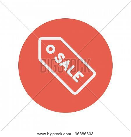 Sale tag thin line icon for web and mobile minimalistic flat design. Vector white icon inside the red circle.
