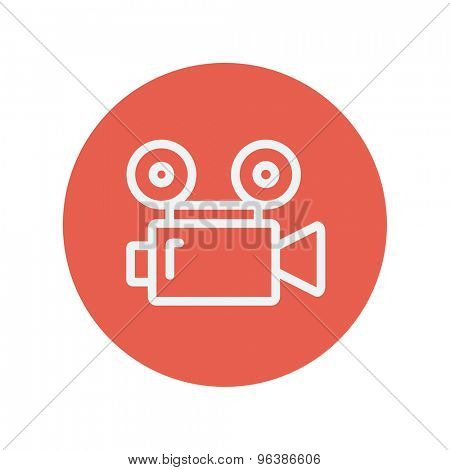 Cinematography thin line icon for web and mobile minimalistic flat design. Vector white icon inside the red circle.