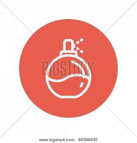 Perfume thin line icon for web and mobile minimalistic flat design. Vector white icon inside the red circle.