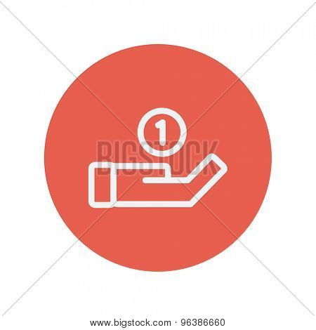 Hand and coin thin line icon for web and mobile minimalistic flat design. Vector white icon inside the red circle.
