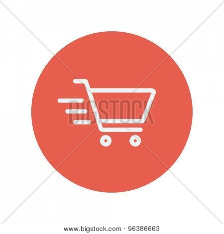 Fast delivery shopping cart thin line icon for web and mobile minimalistic flat design. Vector white icon inside the red circle.