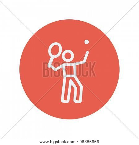 Tennis player in serving position thin line icon for web and mobile minimalistic flat design. Vector white icon inside the red circle.