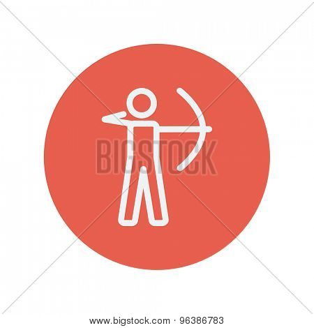 Archery sport thin line icon for web and mobile minimalistic flat design. Vector white icon inside the red circle.