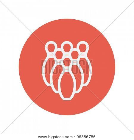 Bowling pins thin line icon for web and mobile minimalistic flat design. Vector white icon inside the red circle.