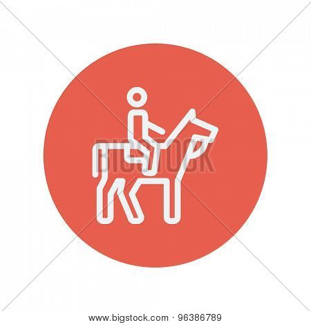 Horse riding thin line icon for web and mobile minimalistic flat design. Vector white icon inside the red circle.