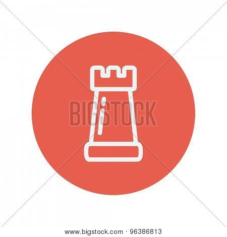 Chess rook thin line icon for web and mobile minimalistic flat design. Vector white icon inside the red circle.