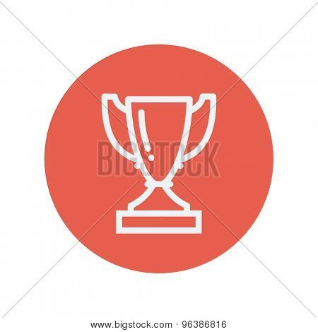 Trophy thin line icon for web and mobile minimalistic flat design. Vector white icon inside the red circle.