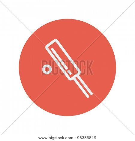Cricket set game thin line icon for web and mobile minimalistic flat design. Vector white icon inside the red circle.