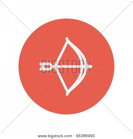 Bow and arrow thin line icon for web and mobile minimalistic flat design. Vector white icon inside the red circle.