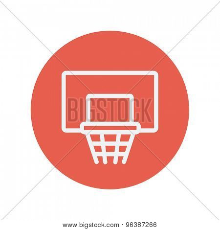 Basketball hoop thin line icon for web and mobile minimalistic flat design. Vector white icon inside the red circle.