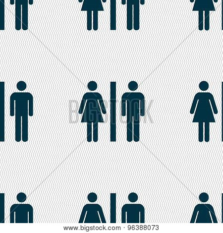 Silhouette Of A Man And A Woman Icon Sign. Seamless Pattern With Geometric Texture. Vector