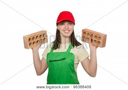 Woman holding clay brick isolated on white