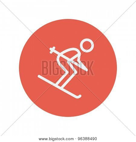 Downhill skiing thin line icon for web and mobile minimalistic flat design. Vector white icon inside the red circle.