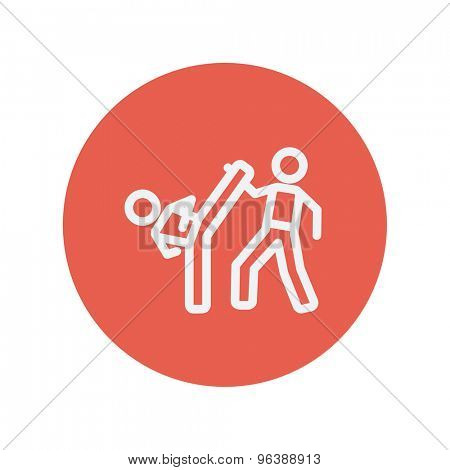 Karate fighters thin line icon for web and mobile minimalistic flat design. Vector white icon inside the red circle.