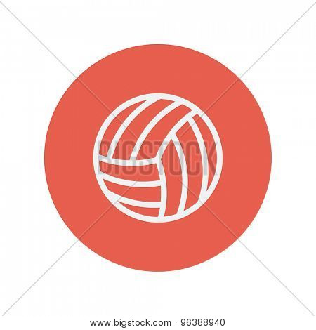 Volleyball ball thin line icon for web and mobile minimalistic flat design. Vector white icon inside the red circle