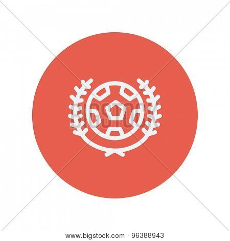 Sports soccer logo badges thin line icon for web and mobile minimalistic flat design. Vector white icon inside the red circle