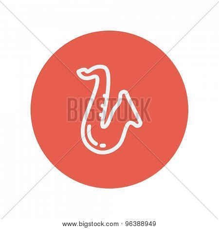 Saxophone thin line icon for web and mobile minimalistic flat design. Vector white icon inside the red circle