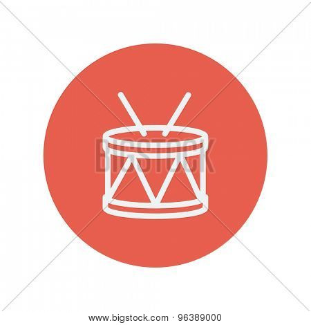 Drum with stick thin line icon for web and mobile minimalistic flat design. Vector white icon inside the red circle
