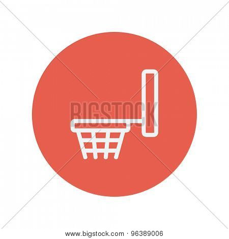Basketball hoop thin line icon for web and mobile minimalistic flat design. Vector white icon inside the red circle