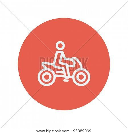 Motorbike thin line icon for web and mobile minimalistic flat design. Vector white icon inside the red circle